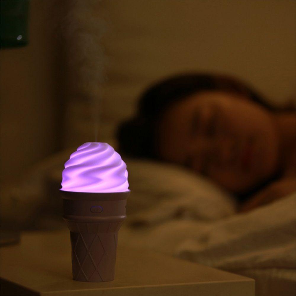 Mini USB Ice Cream Humidifier Car Bedroom Seven Colors Transform Mute