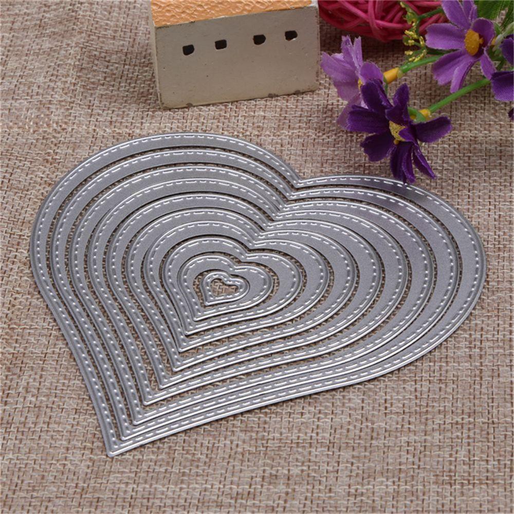 10pcs 1.2-12cm Heart Sewing Thread Metal Die Cutting Dies for DIY Scrapbooking