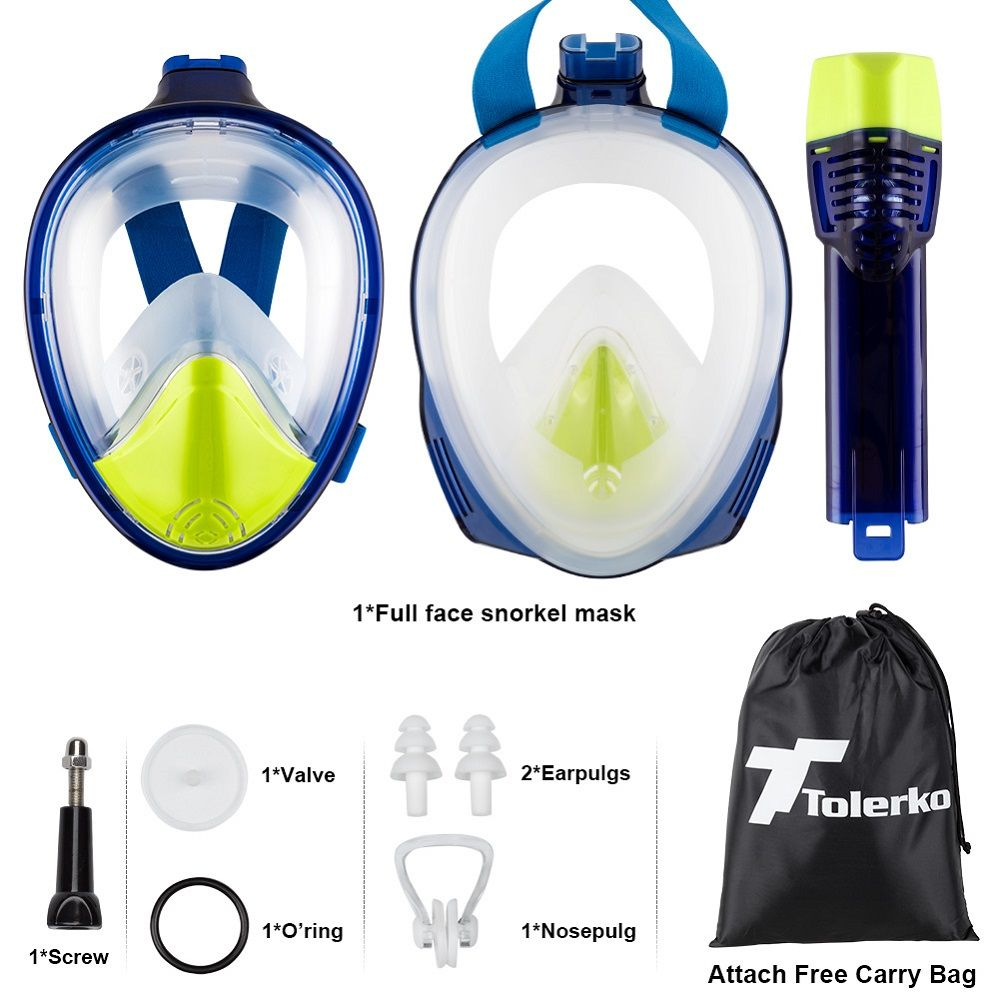 180 Degree Full Face Snorkel Mask Panoramic View Design Diving Scuba Snorkel Go Pro Compatible Snorkeling Mask