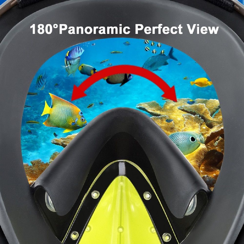 180 Degree Full Face Snorkel Mask Panoramic View Design Diving Scuba Snorkel Go Pro Compatible Snorkeling Mask L/XL