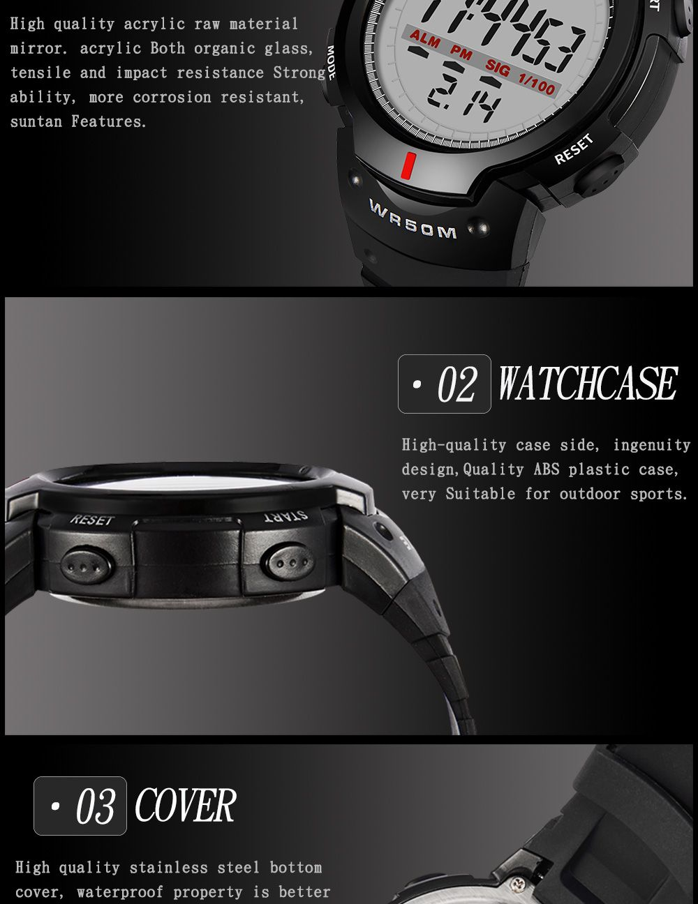 Sports Outdoor Waterproof Men Digital  Watch