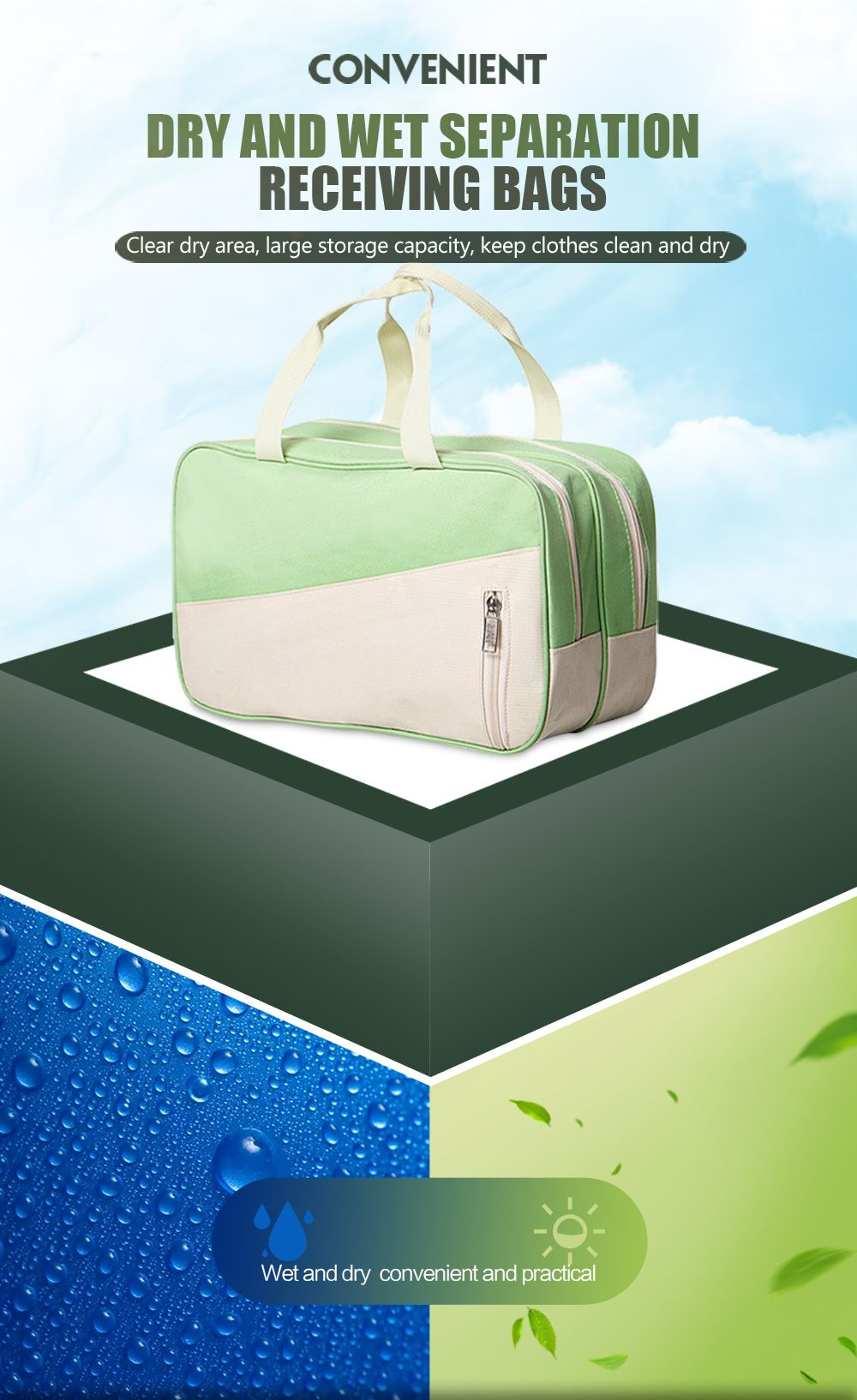 Waterproof Swimming Bag Dry Wet Separation Swimsuit Storage Bags