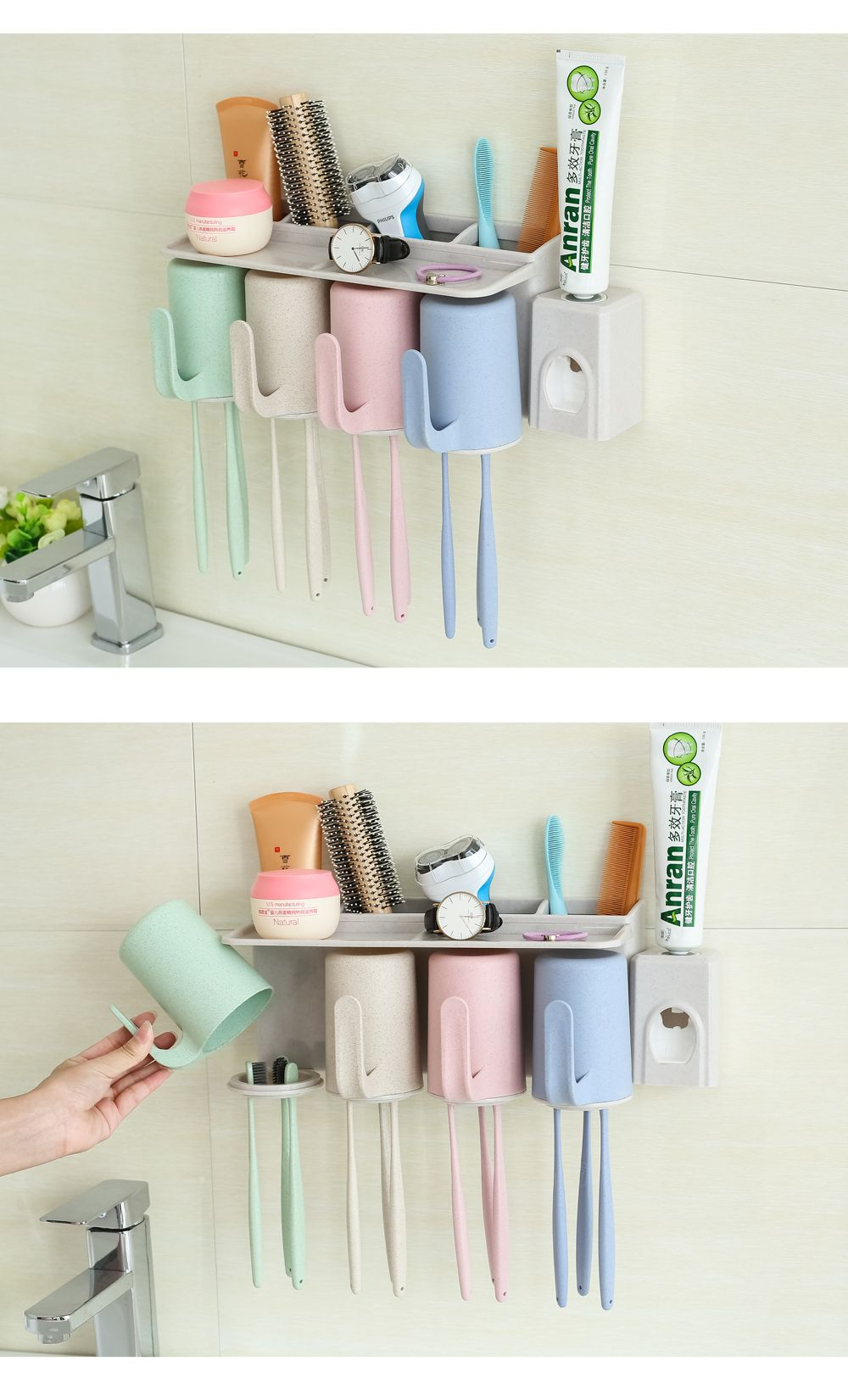 Bathroom Accessories Suction Cup Toothbrush Toothpaste Tooth Mug Holder