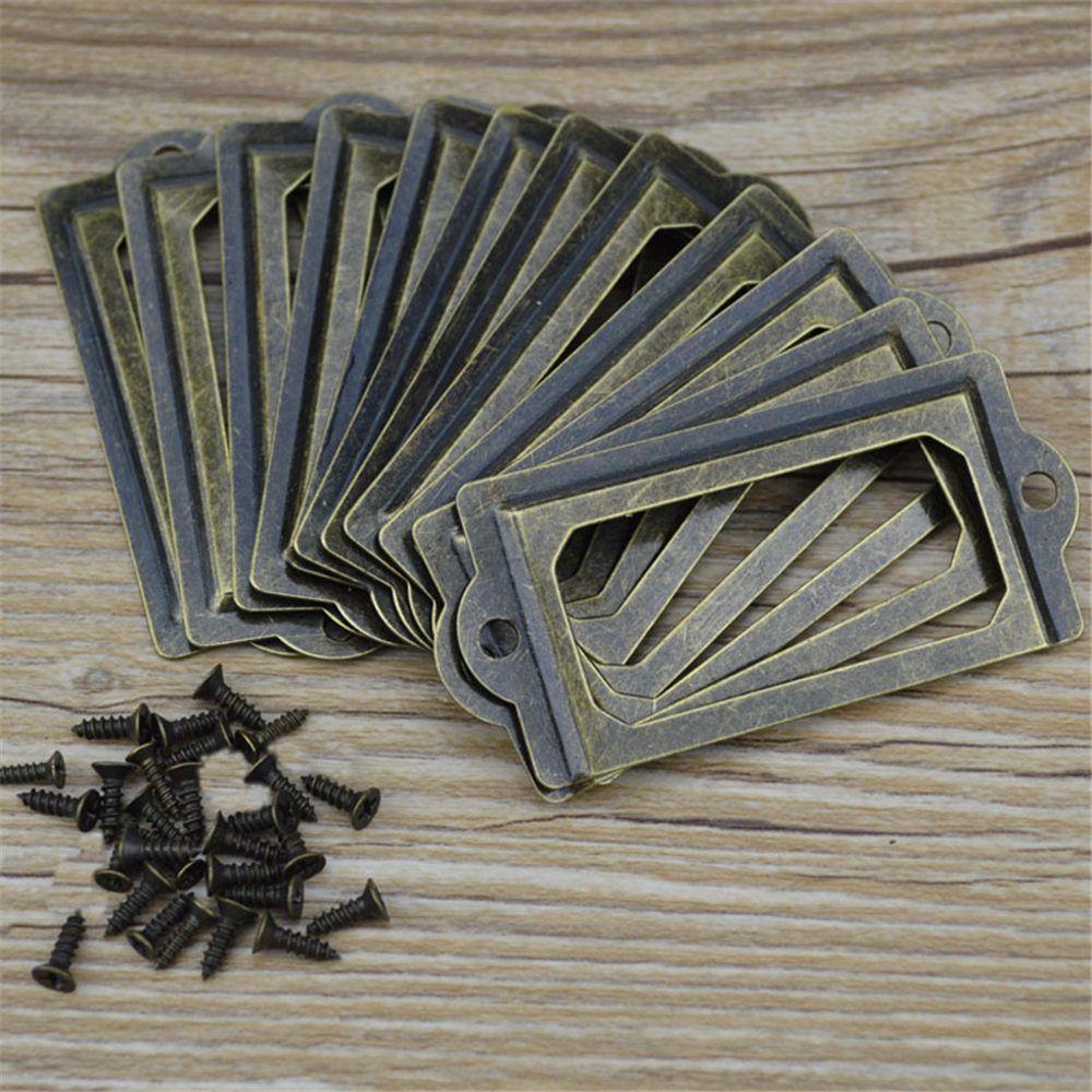 12PCS Antique Brass Metal Label Pull Frame Handle File Name Card Holder for Furniture Cabinet Drawer Box Case Bin
