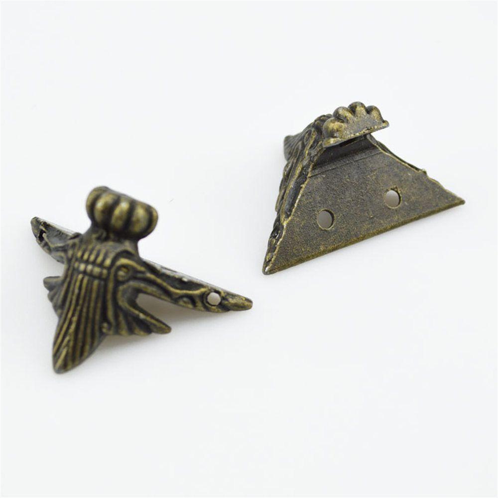 4PCS Zinc Alloy Antique Brass Jewelry Gift Box Wood Case Decorative Feet Leg Corner Protector 42x30mm