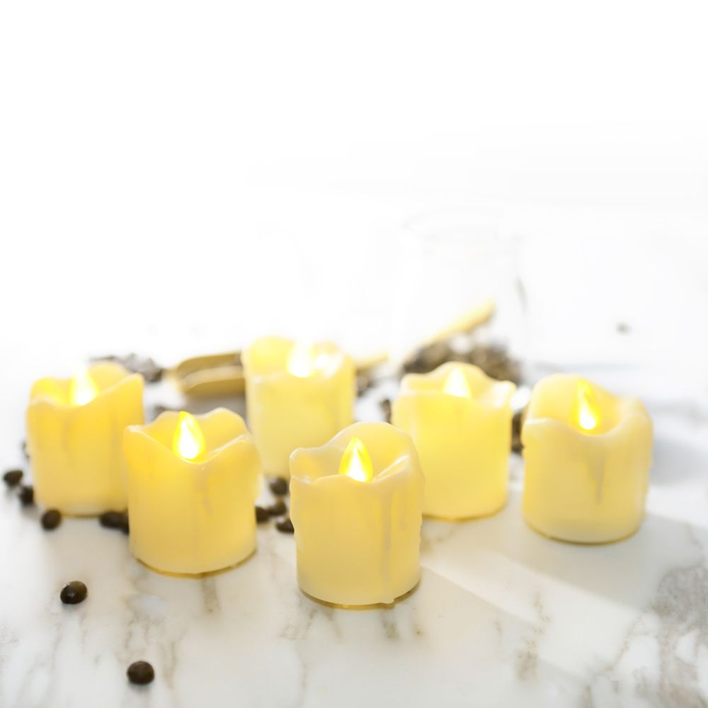 Set of 12pcs Flameless LED Votive Candle with dripping