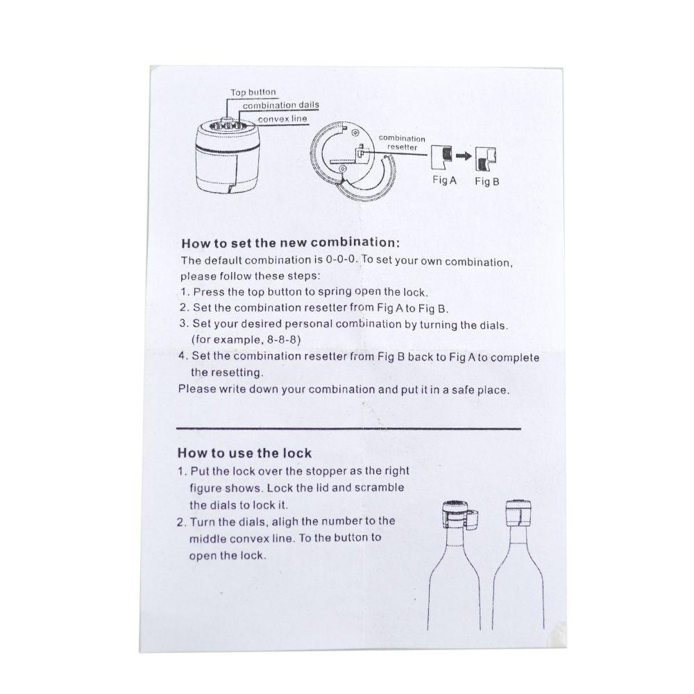 AETOOL Plastic Bottle Password Lock Combination Lock Wine Stopper Vacuum Plug Device Preservation