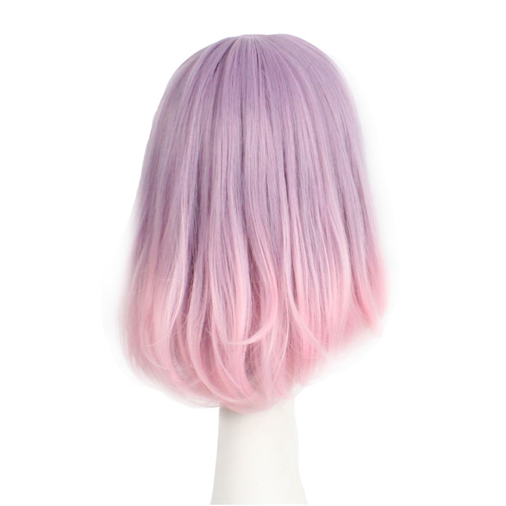 Straight Synthetic Wig With Bangs Pink Color Bob Style Classic Full Cap Wig For Girls