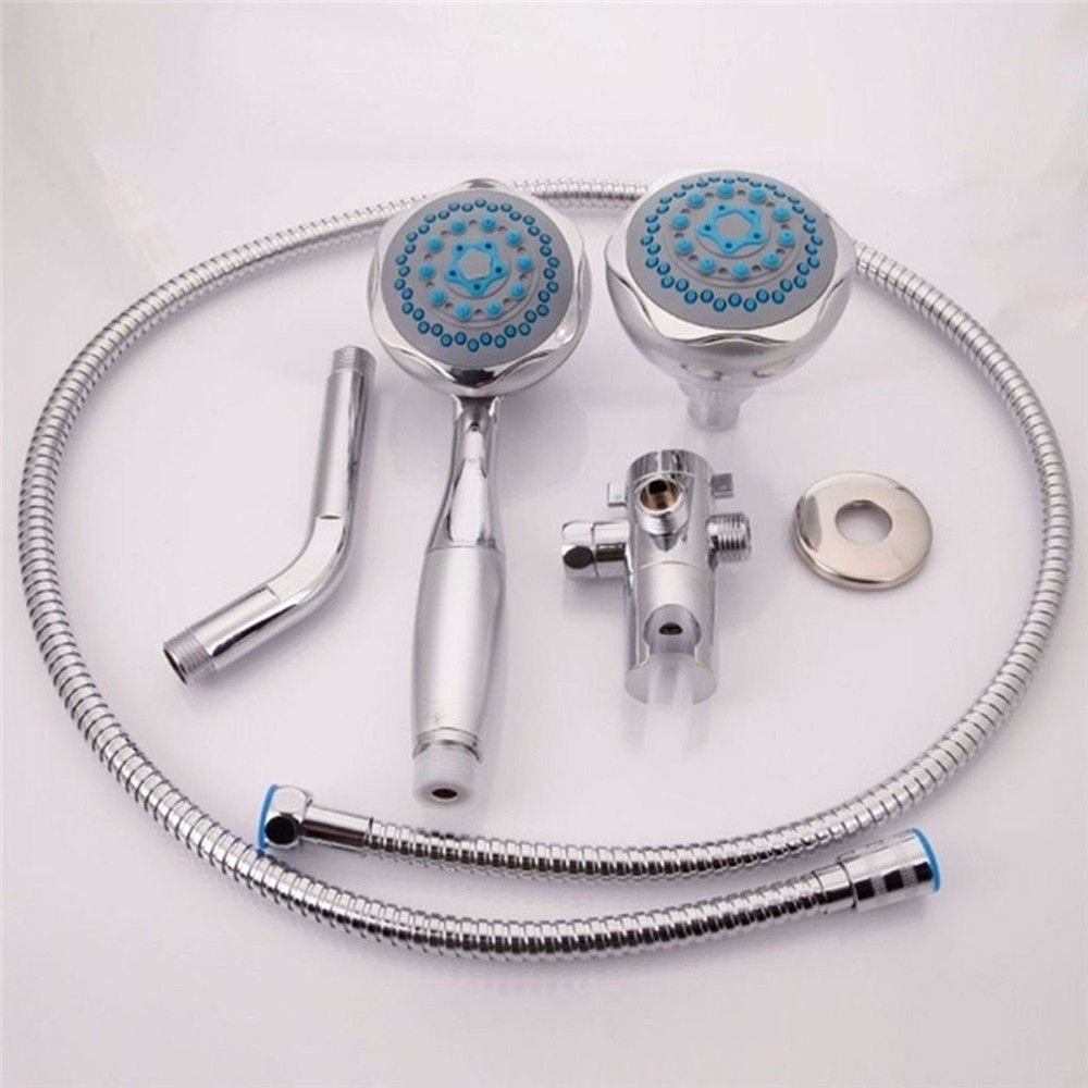 Shower Head Double Head Shower Head Multifunctional 3-WAY 2-IN-1 Dual Shower Heads Stainless Steel System Shower Wall Mo