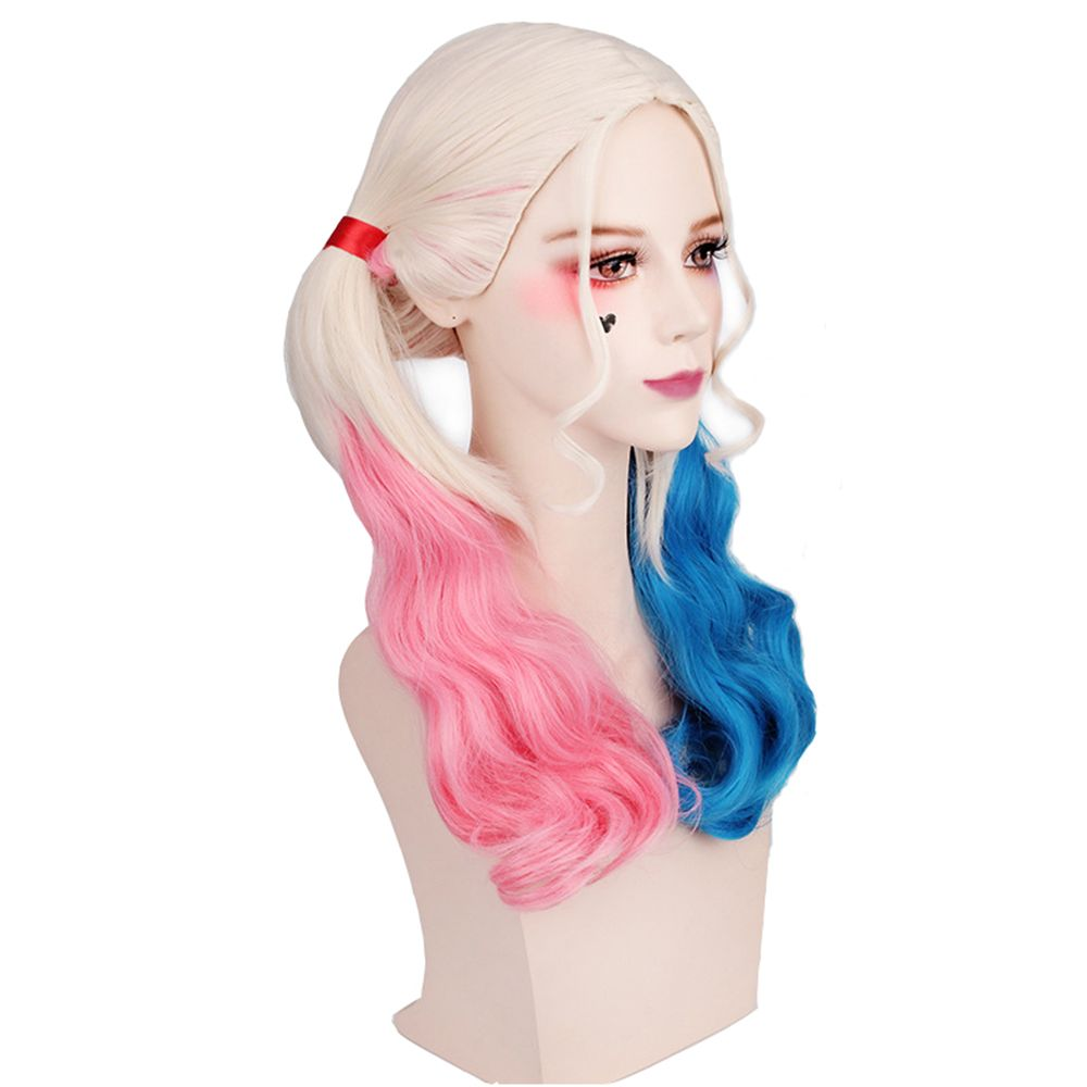 Long Blonde Ombre Blue and Pink Wavy Braid Hair Heat Resistant Synthetic Cosplay Wigs
