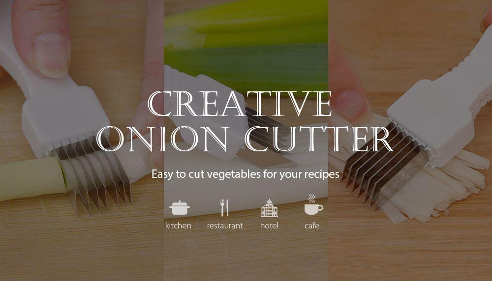 DIHE Onion Cutter Easy Cut Stainless Steel Knife Vegetable Slicer Shredder Chopper Peeler Kitchen Gadget for Scallion Shallot