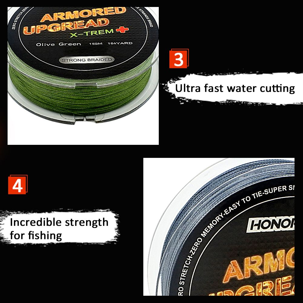 HONOREAL 0.165mm 150m Super Strong Abrasion Resistant  Grey and Green Color 4 Strands PE Braided Fishing Line