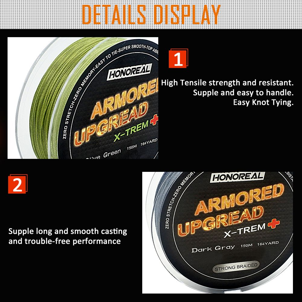 HONOREAL 0.203mm 150m Super Strong Abrasion Resistant Deep Gray and Olive Green Color 4 Strands PE Braided Fishing Line