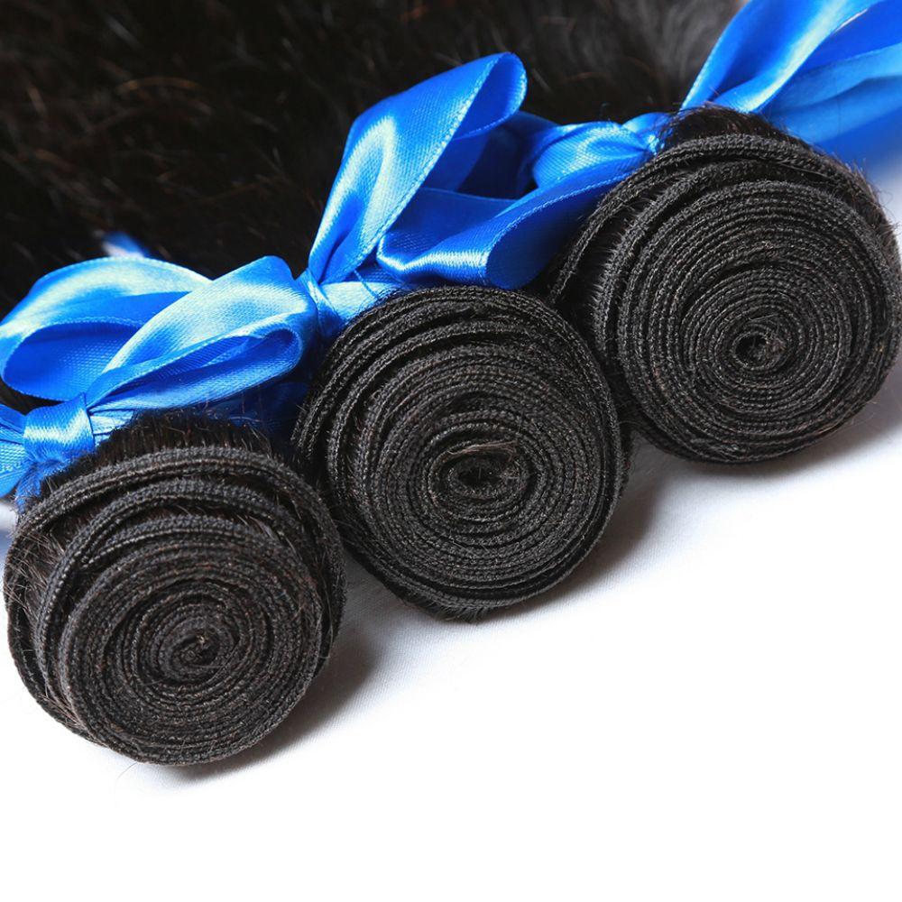 2 Bundle Unprocessed Virgin Indian Straight Human Hair Weaves - Natural Black