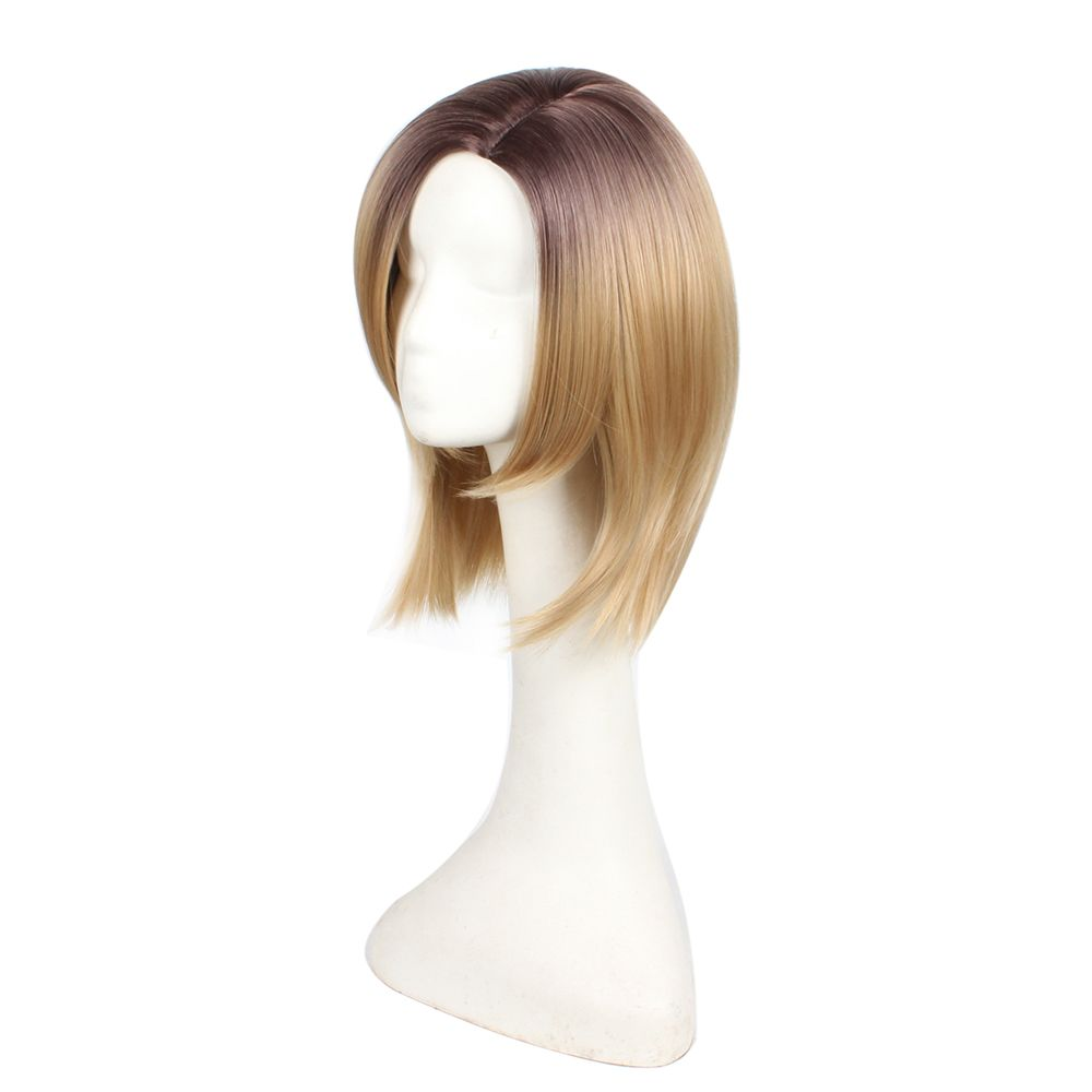 Short Bob Style Middle Part Ombre Dark Root Natural Straight Synthetic Hair Wigs for Women