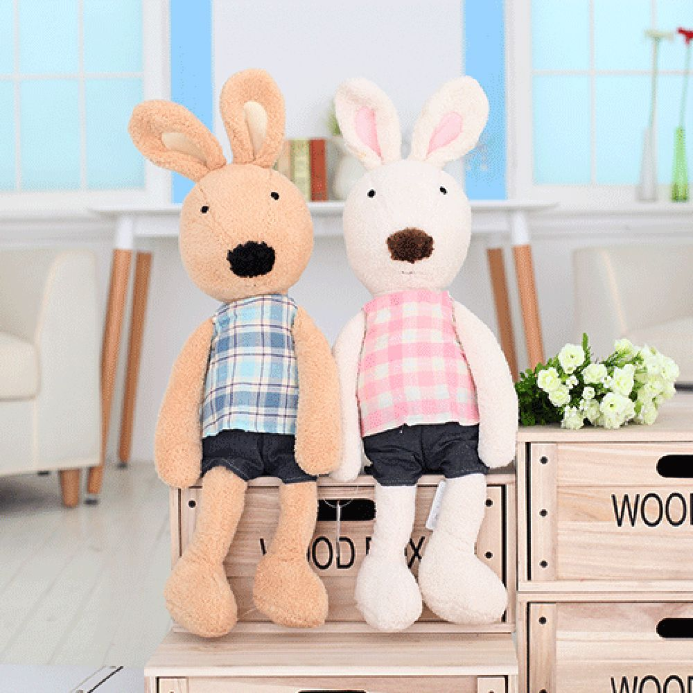 30 CM Grid Cloth Rabbit Plush Toy Doll