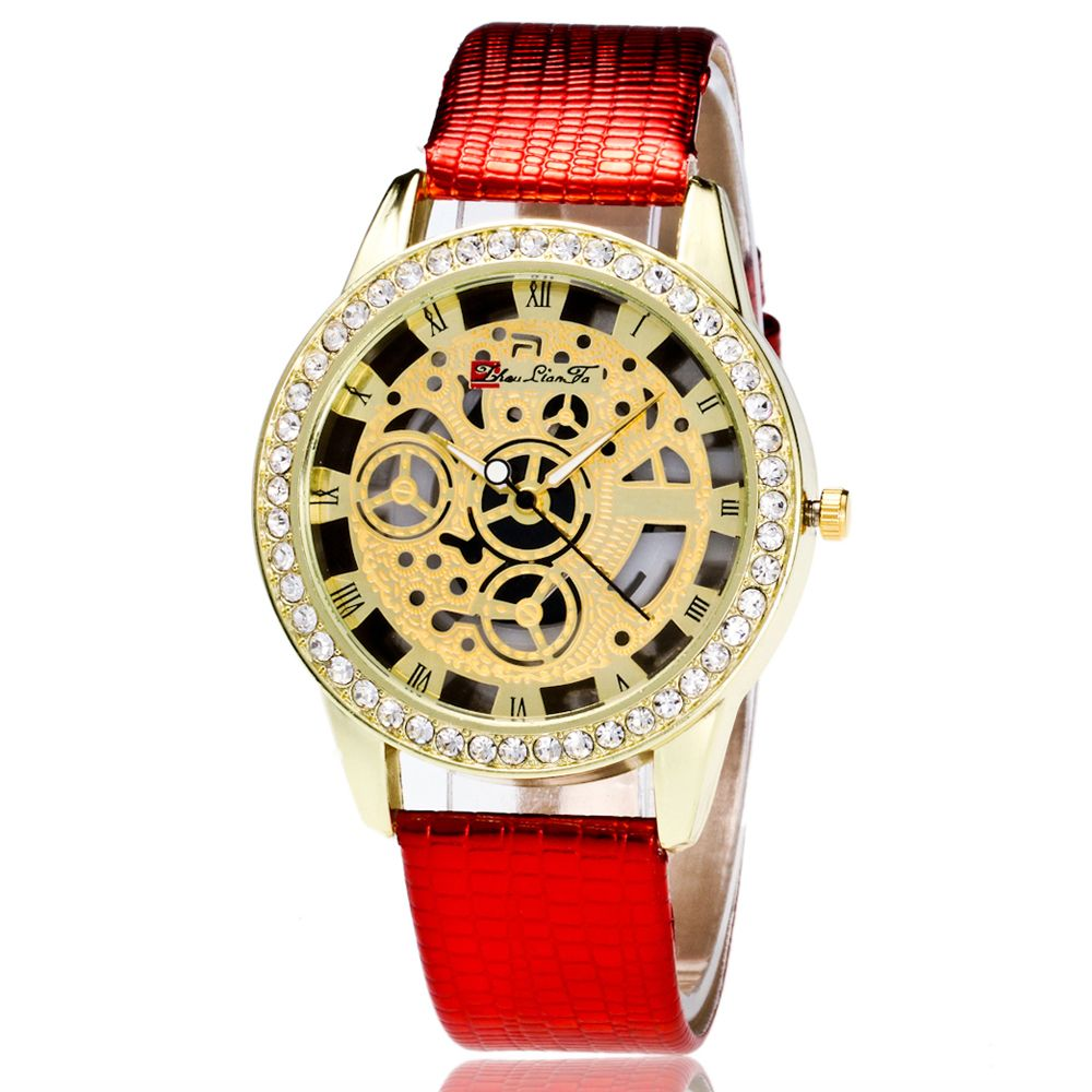ZhouLianFa Casual Fashion Crocodile Pattern Leather Strap Diamond Luxury Retro Hollow Quartz Watch