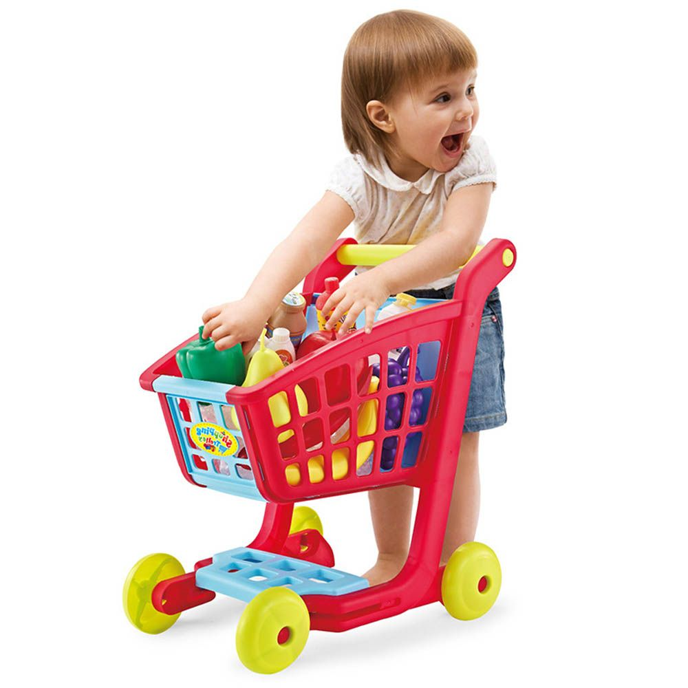 Children Shopping Cart with Full Grocery Food Toy