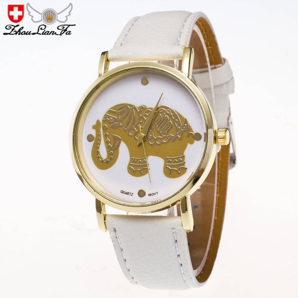 ZhouLianFa New Gold Elephant Fashion Trend Lai Chi Pattern Belt Retro Quartz Watch