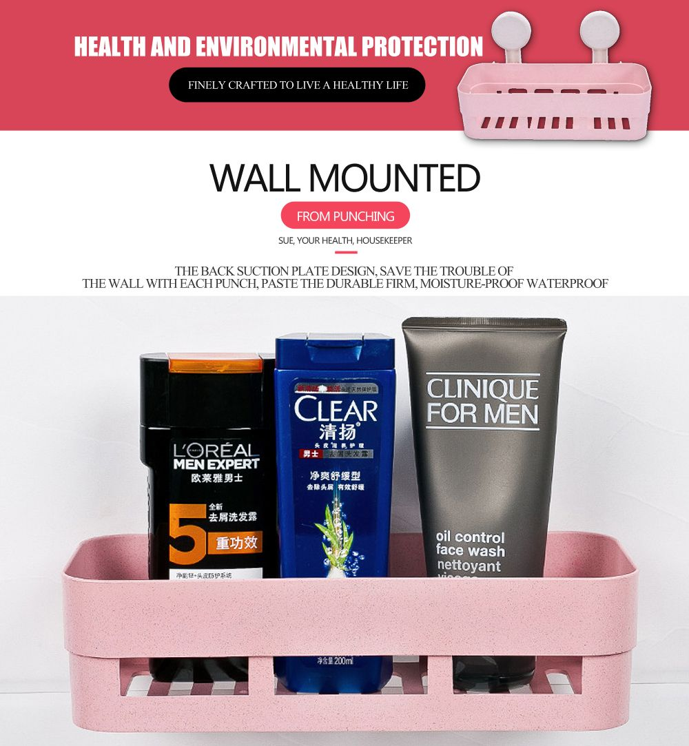 Powerful Suction Cup Wall Mounted Type Bathroom Shelf
