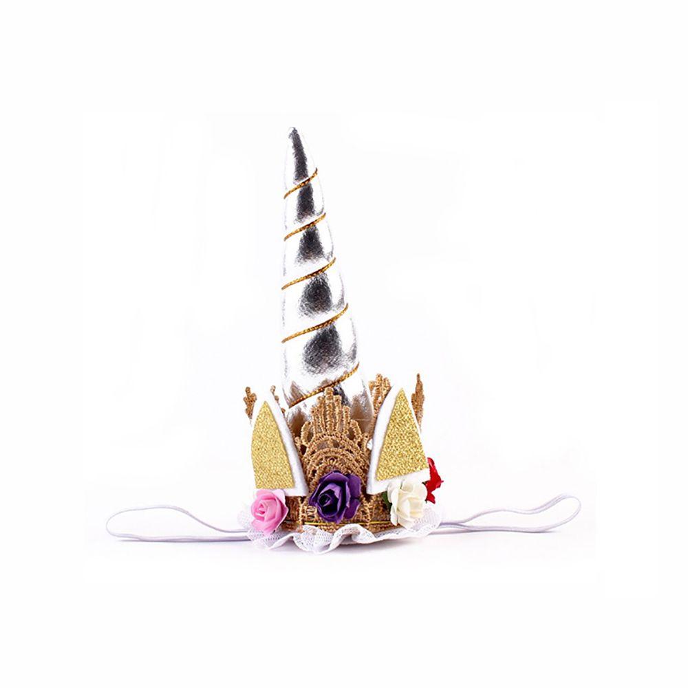 Unicorn Party Hair Hoops Hair Accessories Gold Horn Animal Headdress Children Flower Headband