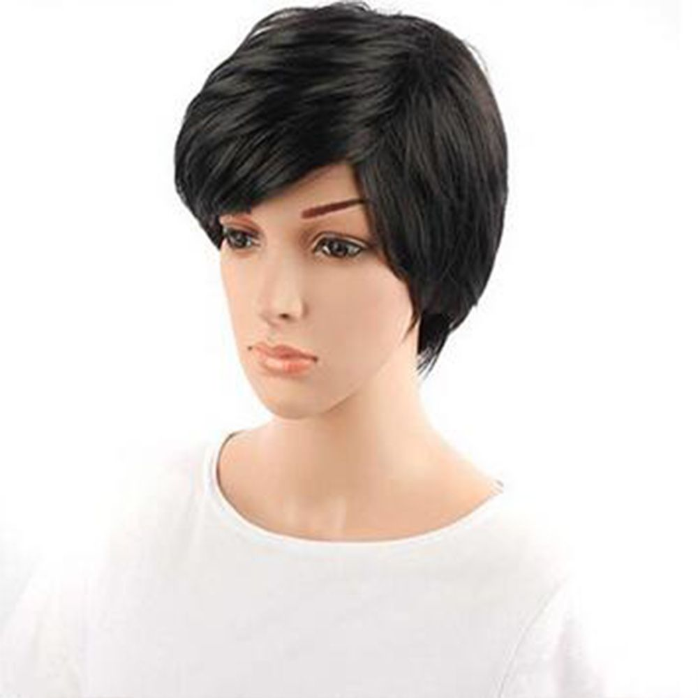 Synthetic Lace Front Short Straight Hair Bob Wig Adjustable For African Women High Temperature Fiber