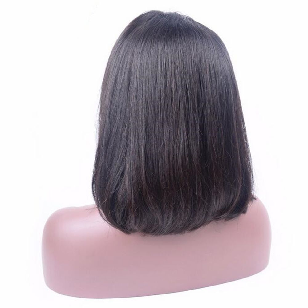 Human Remy Hair Bob Wigs 130 Percent Brazilian Lace Front African American Short For Black Women