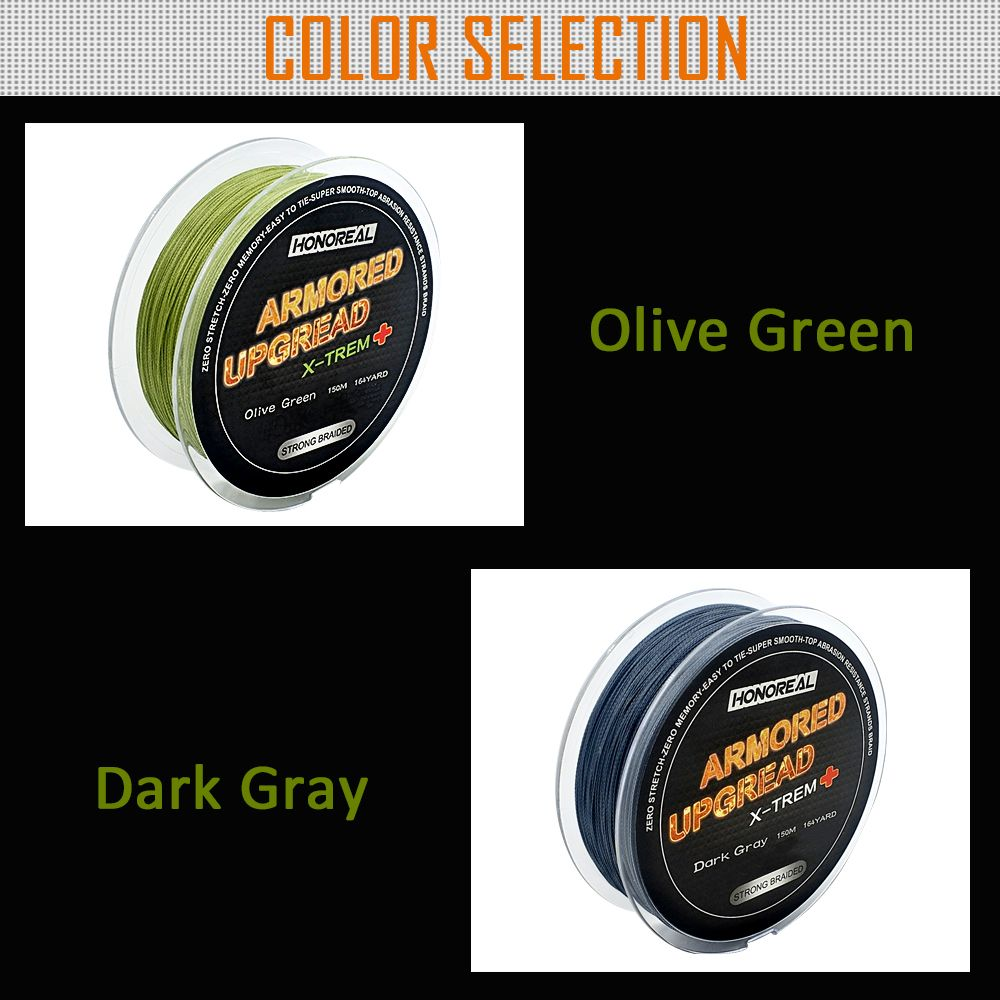 HONOREAL Super Strong Abrasion Resistent Long 0.148mm 150m Grey and Green Color 4 Strands PE Braided Fishing Line