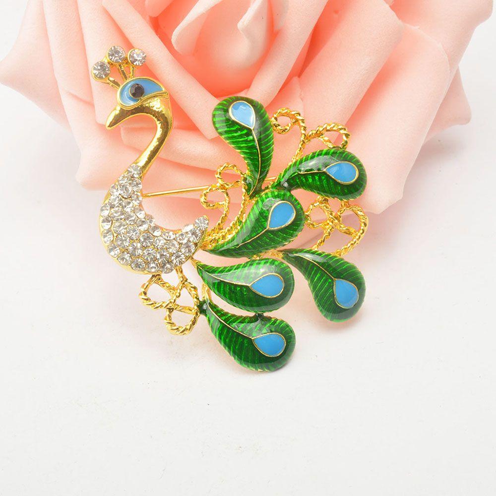 High-grade Brooches Multicolor Rhinestone Green Peacock Brooch Wedding Pins Fine Jewelry