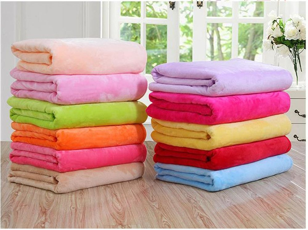 Winter thick warm semplice color flannel blanket sheet