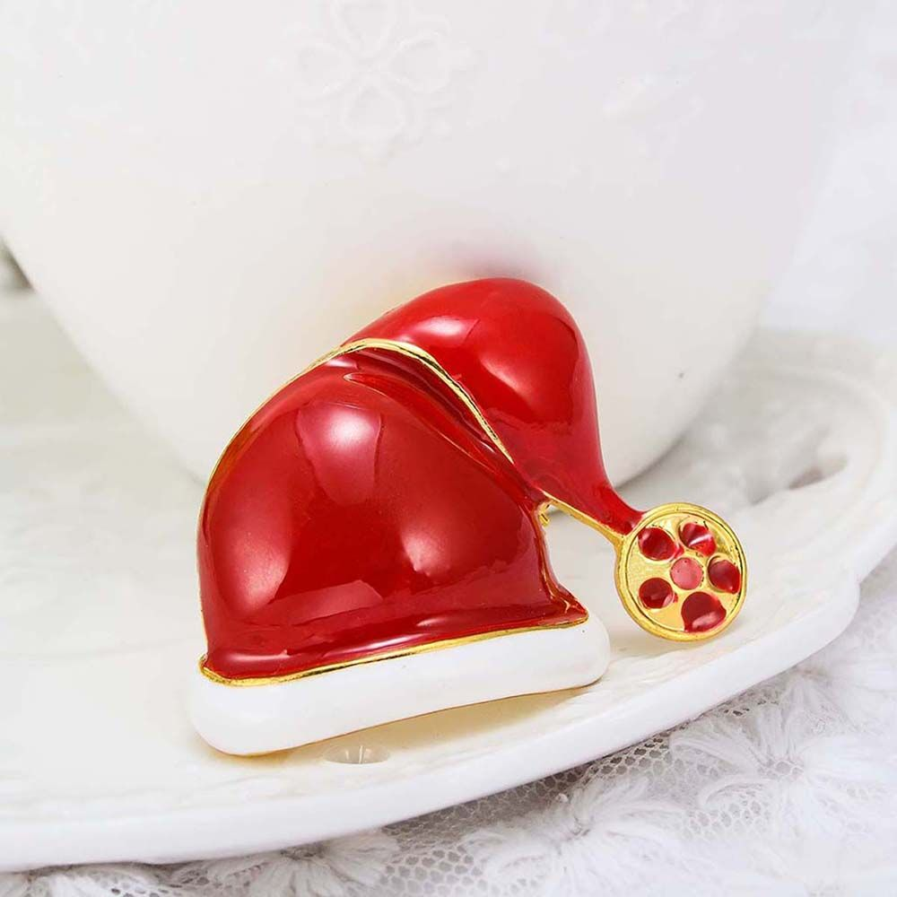 Fashion Christmas Hat Brooch Santa Claus Hat Christmas Gift Jewelry For Women Kids Red Brooches
