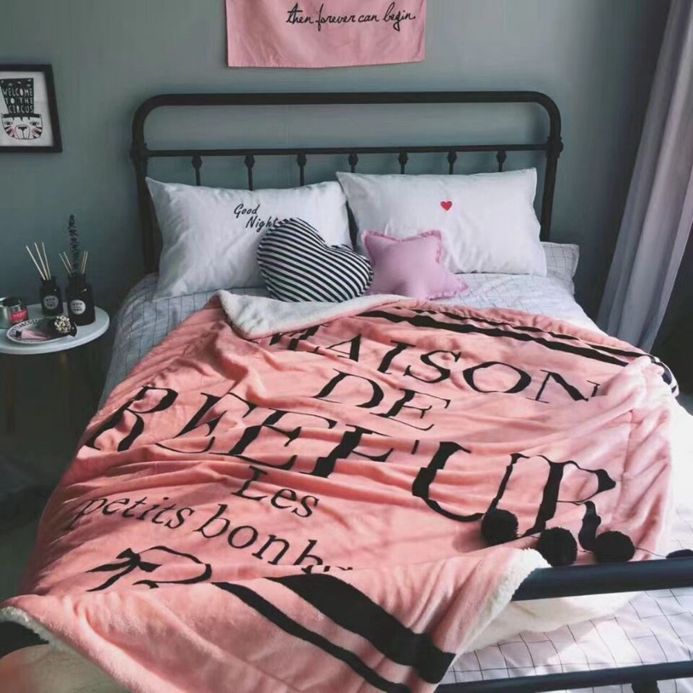 New Thick Flannelette Pink Letter Warm Blanket