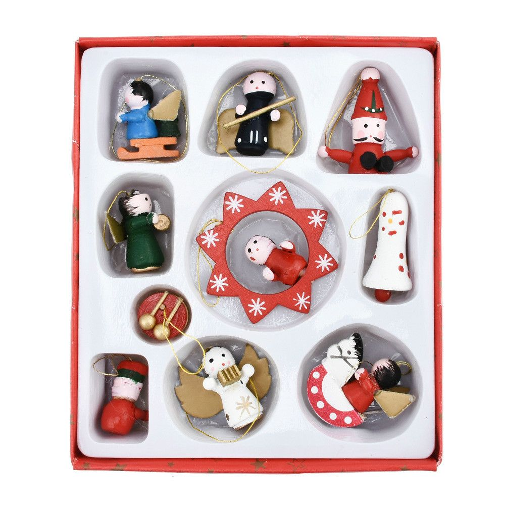 Lovely Christmas Tree Decorations Wooden Small Doll Pendant New Year Decor