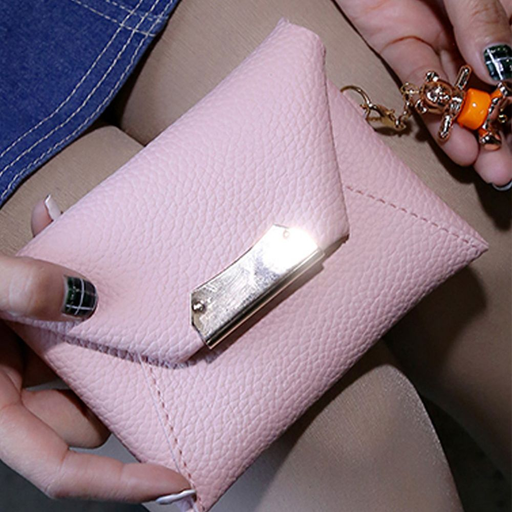 Women's Clutch Solid All Match Bear Pendant Square Cover Casual Bag