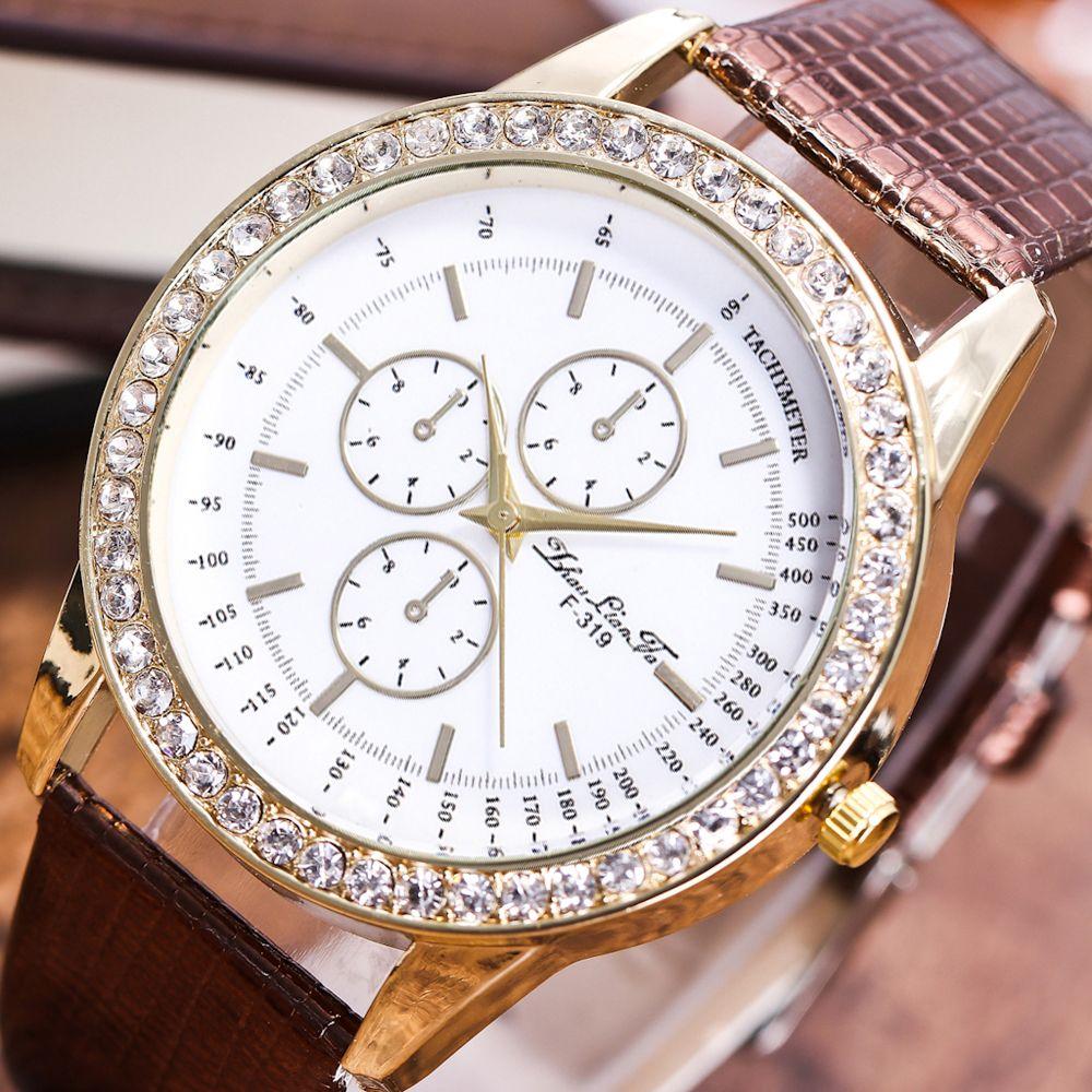 ZhouLianFa New Fashion Diamond Crocodile Pattern Ladies Leather Strap Business Quartz Watch