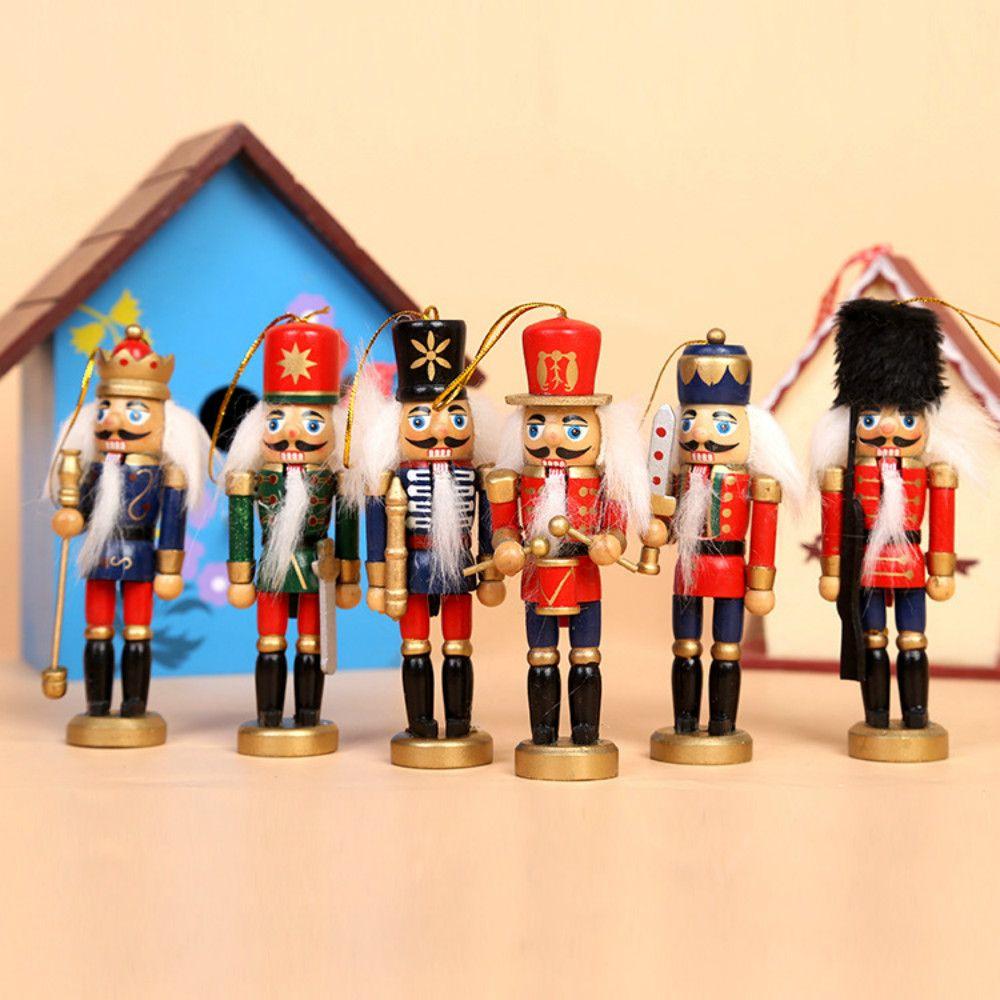 6PCS Nutcracker Puppet Creative Desktop Decoration 12CM Wood Made Christmas Ornaments Drawing Walnuts Soldiers