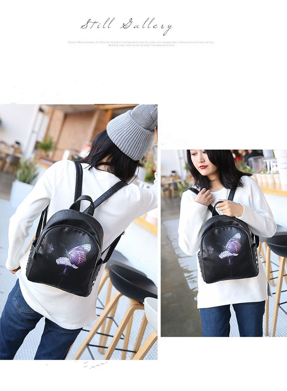 Backpack Female New Butterfly Printing Fashion Bag