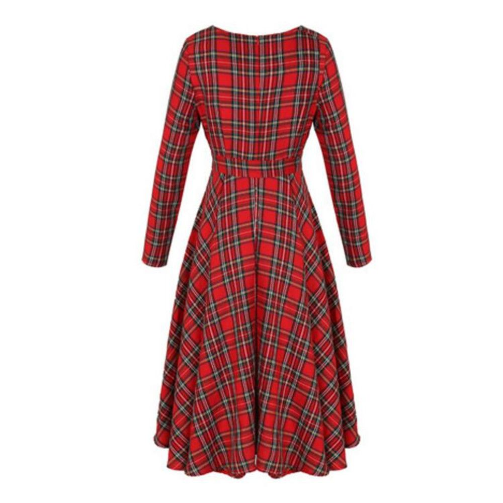 Long Sleeved Red Lattices in Long Dress