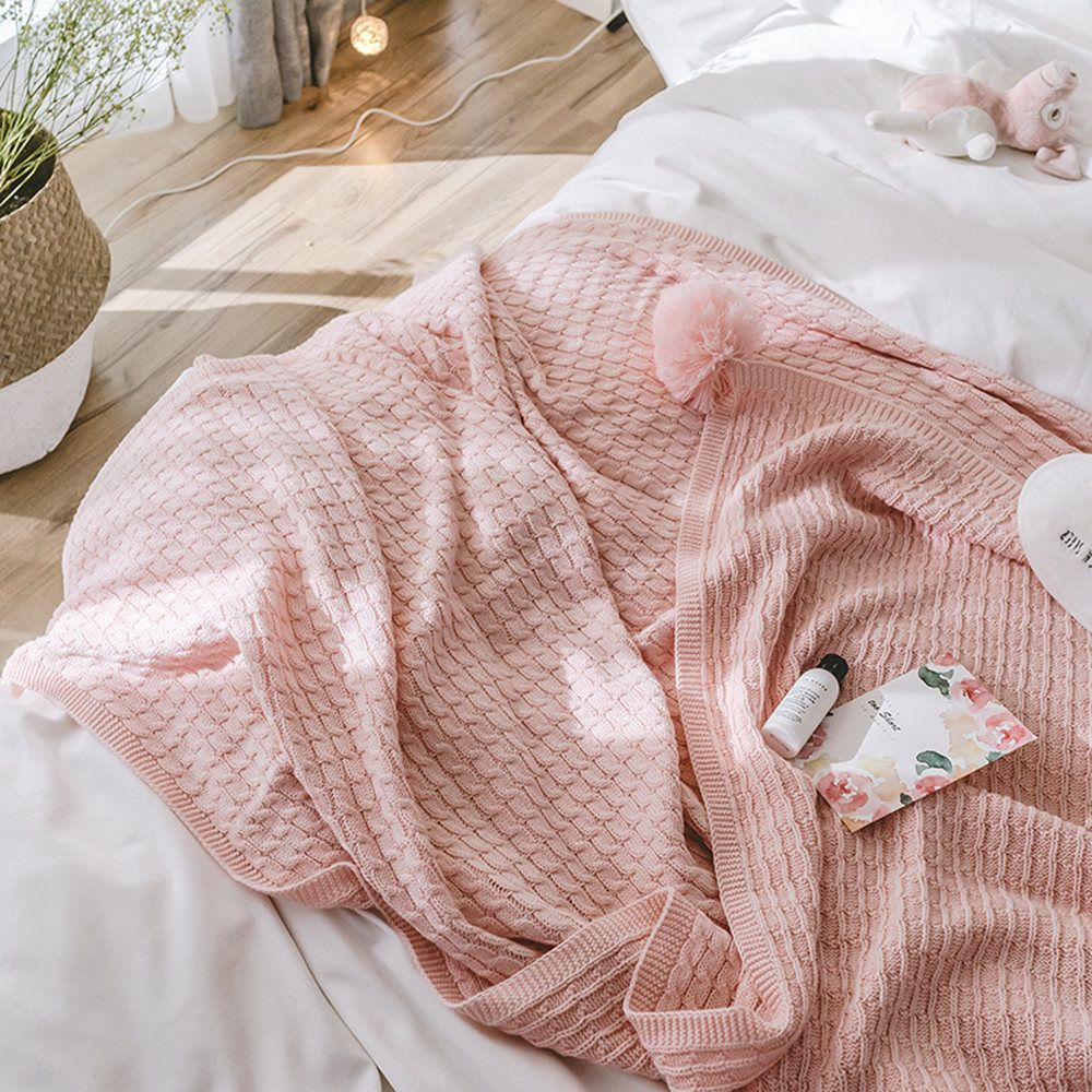 Pink All-Cotton Knit Ball Blanket