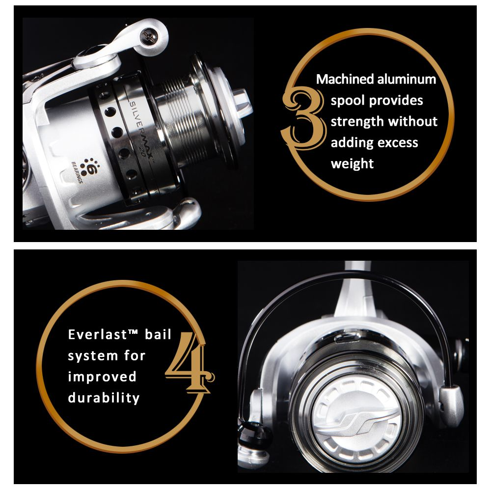 Abu Garcia Silver Max 2000 High Value 5+1 Ball Bearing Gear Ratio 5.2:1 Freshwater Spinning Fishing Reel