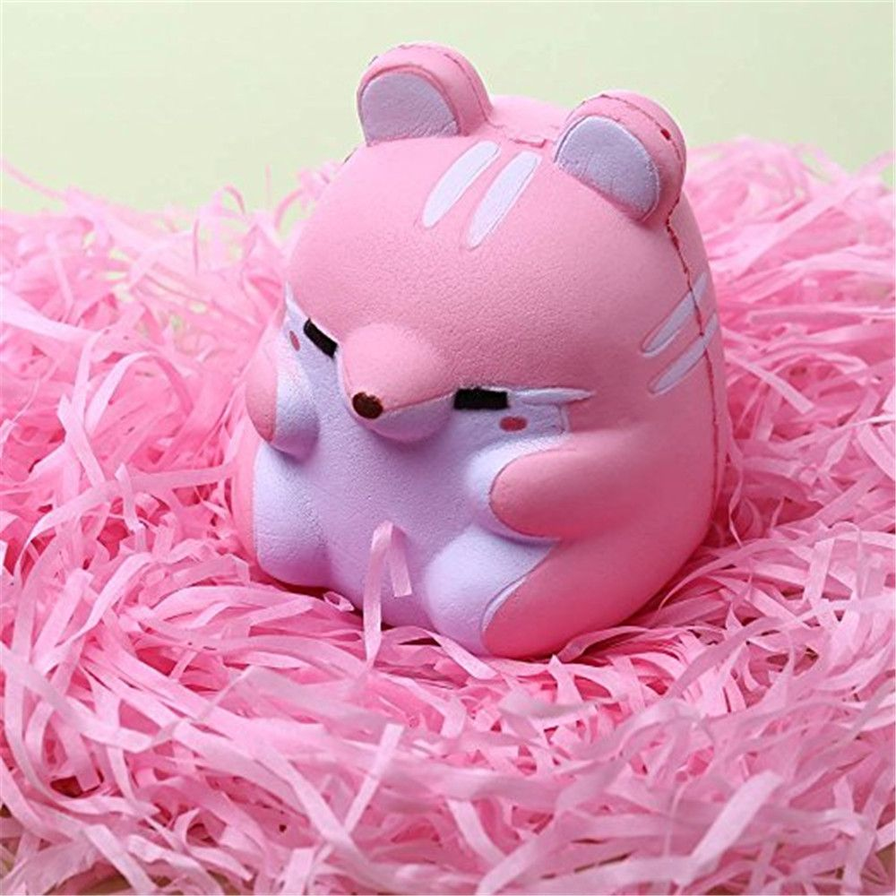 Cute Kawaii Soft Squishy Squishi Colorful Simulation Hamster Toy Slow Rising for Relieves Stress Anxiety Home Decoration