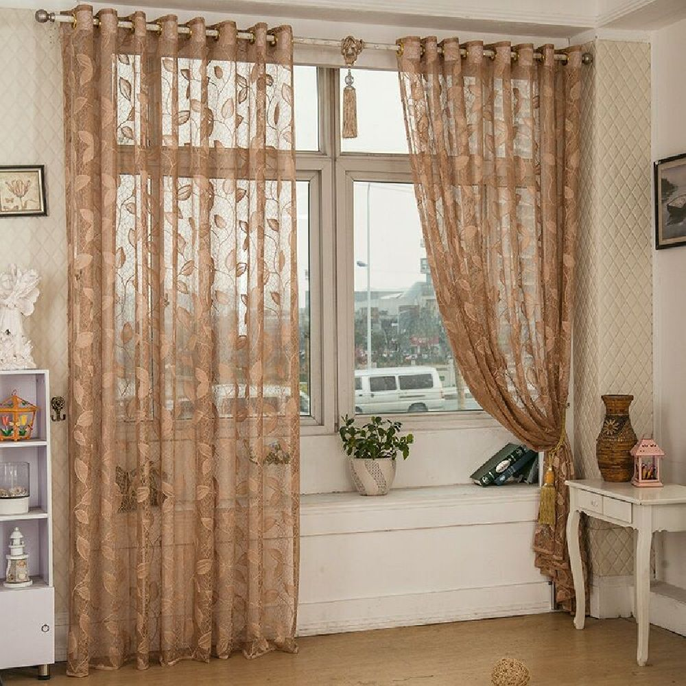 Gold Woven Leaves Hollow Curtain Window Curtains 1pc