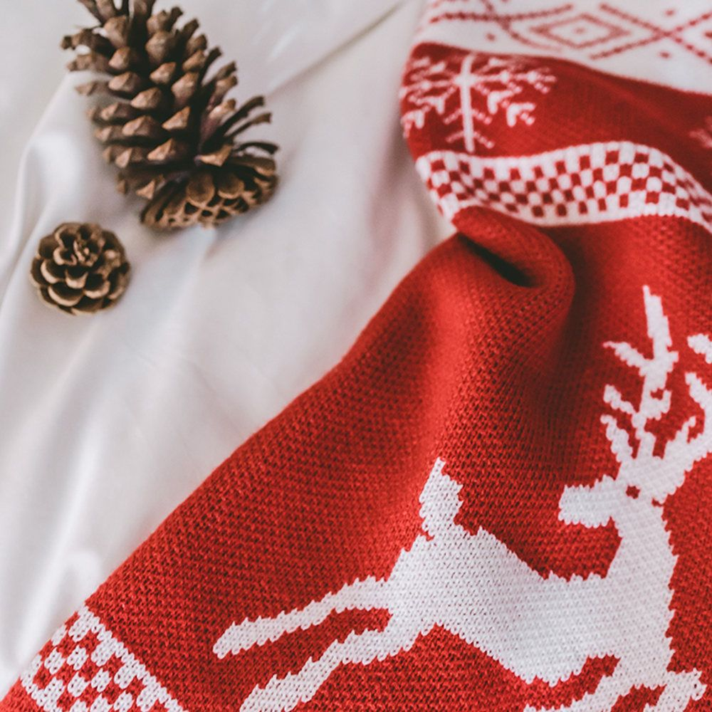 New Big Red Christmas Stockings Knit Creative Blankets