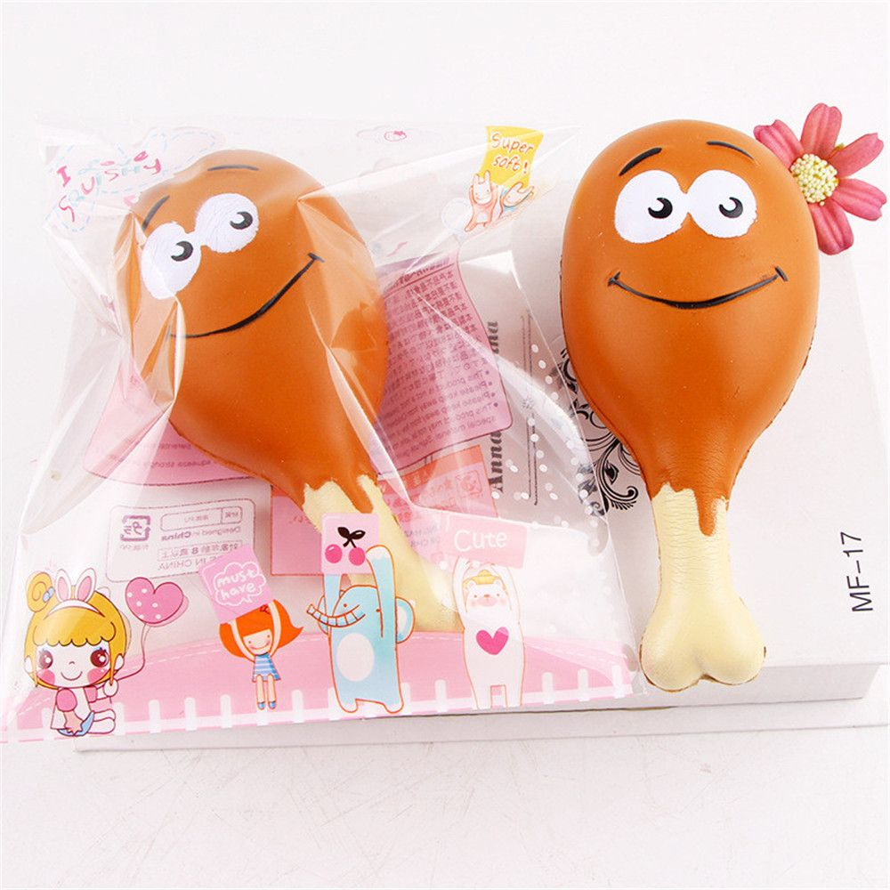 15CM Chicken Leg Smile Face Phone Accessories Squishy Stress Stretch Scented Squeeze Soft Slow Rising Kid Toy