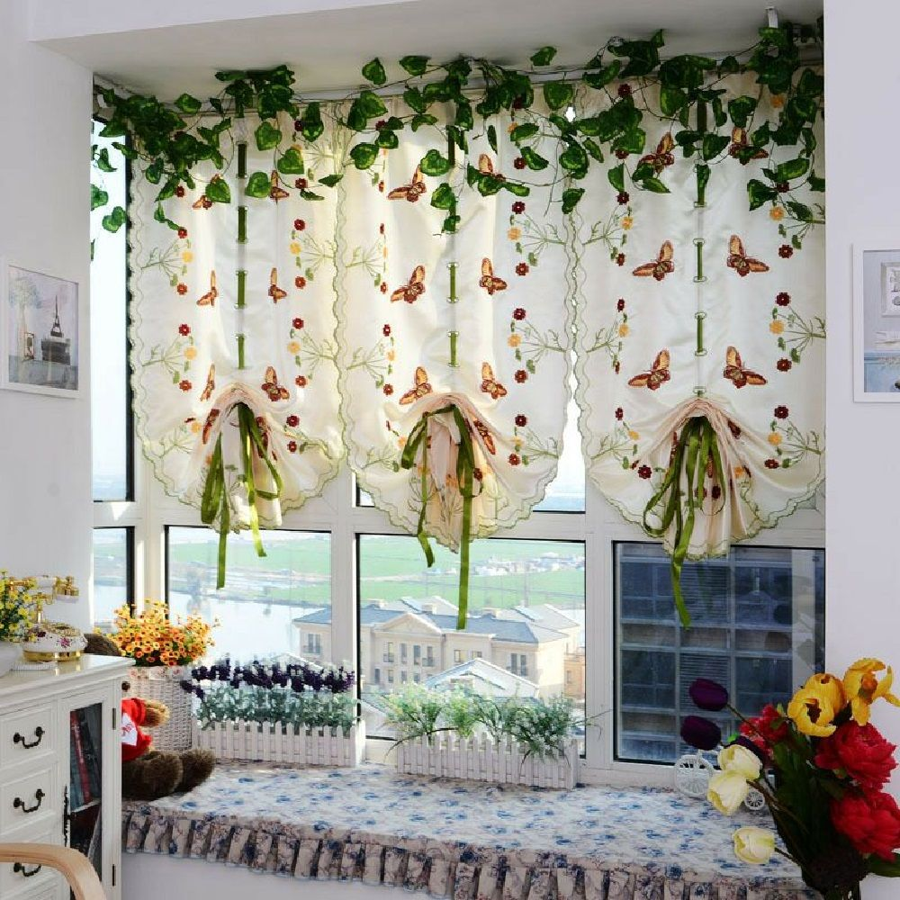 Water soluble embroidery little butterfly living room curtains