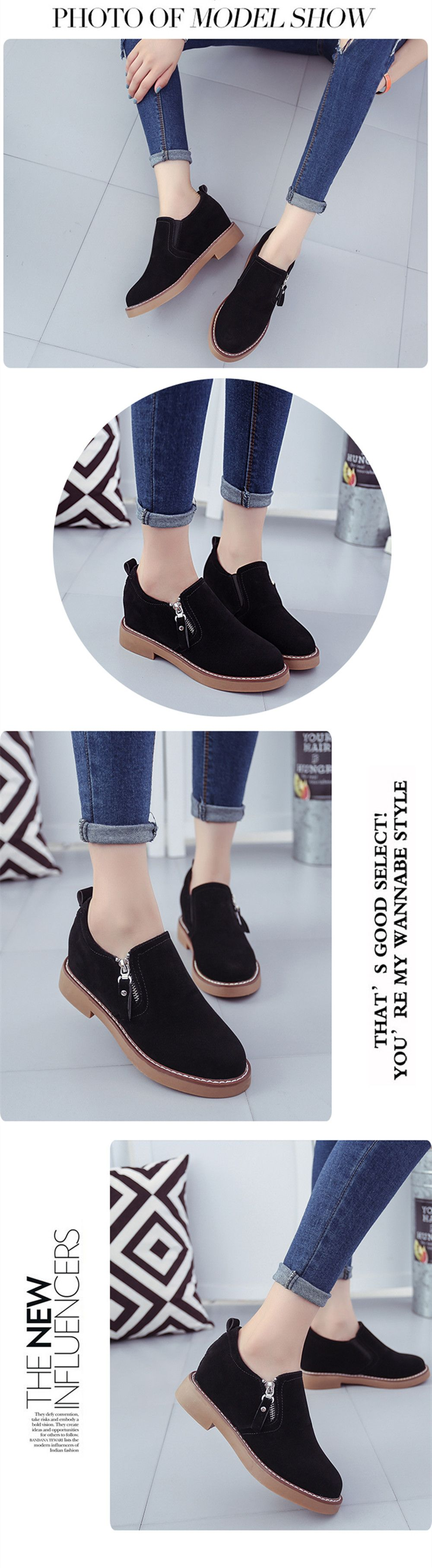 Round Head Side Zipper Low Heel Women's Shoes