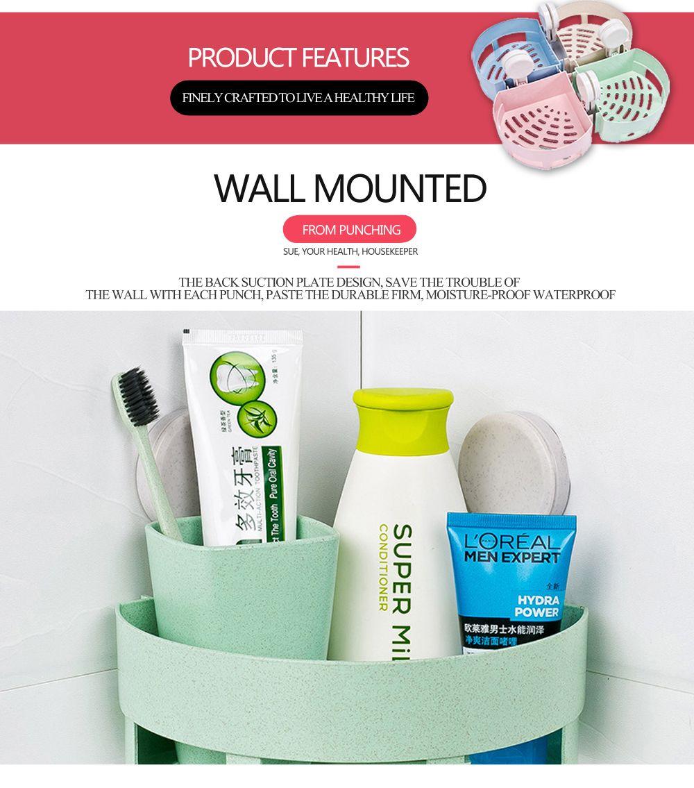 Powerful Suction Cup Wall-hang Triangular Bathroom Shelf