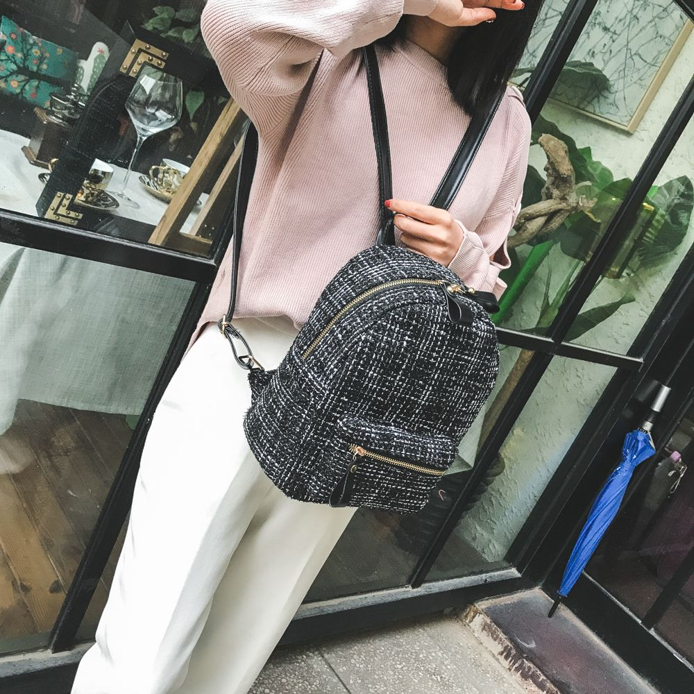 New Shoulder Bag Plaid Woof Double Back Plaid Ladies Backpack 2018 Stylish Wild Double Backpack
