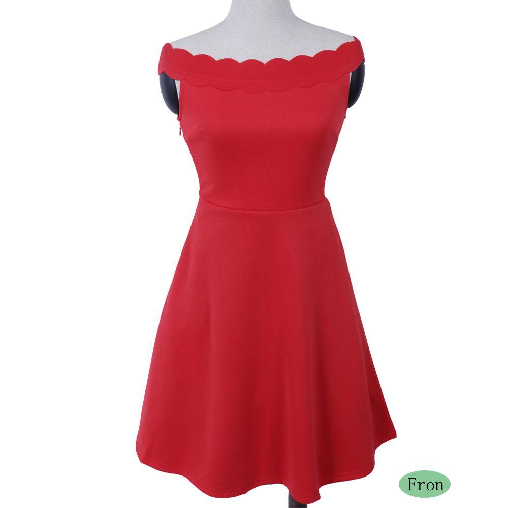 2017 Womens Elegant  Summer Off  Shoulder Solid  Cute Casual Party A- Line Mini Dress