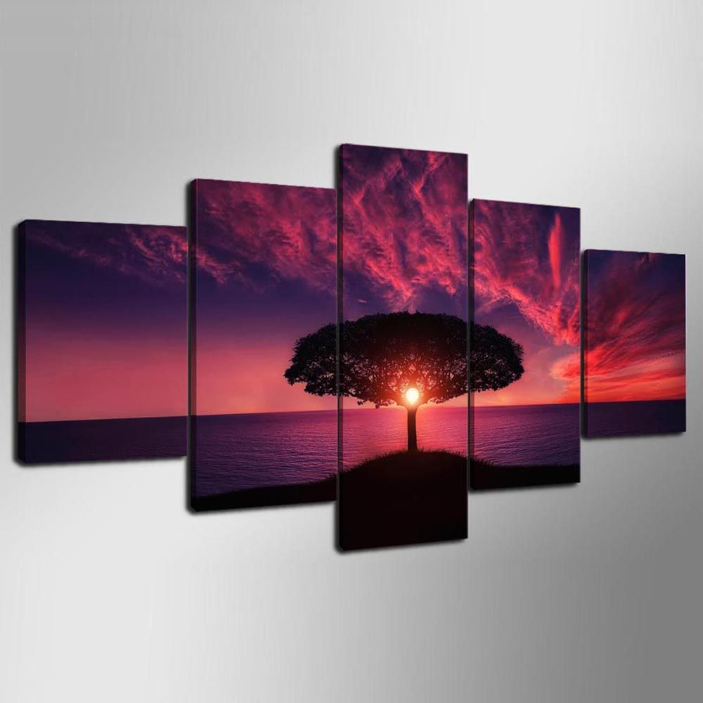 YSDAFEN 5 Pieces Red Sunset By Sea Landscape Posters Wall Art Canvas Picture for Living Room